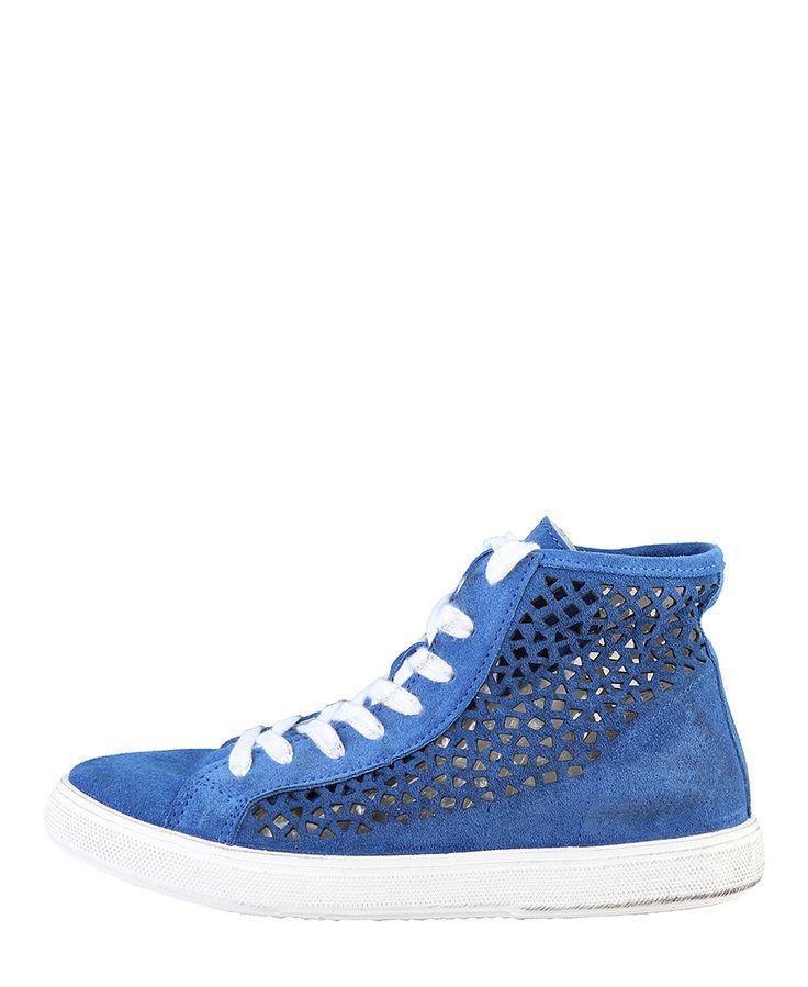 Woz, scarpe donna - 100% made in italy - sneakers stringate alte - tomaia in camoscio traforato - interno pelle, suola g - Sneakers donna dm13213 Blu