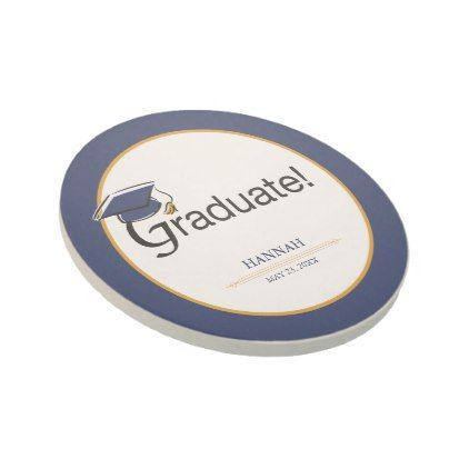 Congratulations Graduate Hat Tassel Blue Gold Coaster - home gifts ideas decor special unique custom individual customized individualized