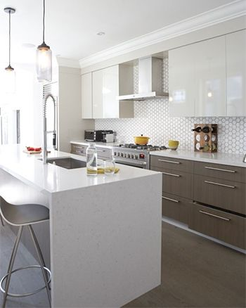 modern kitchen with white kitchen island