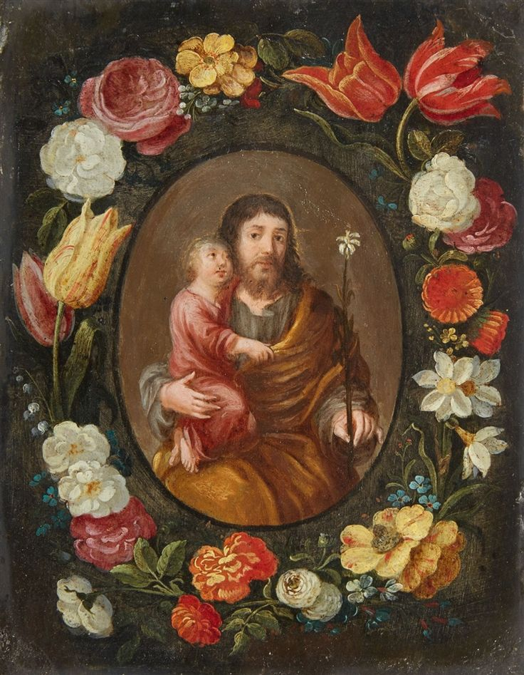 Flemish School —  Saint Joseph and the Christ Child in a Floral Wreath, 17th Century  (777x1000):