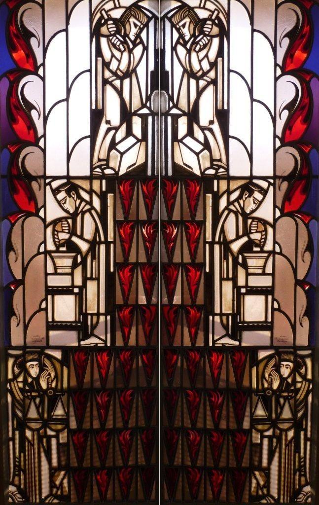 Willem Bogtman Twee gebrandschilderde ramen ca. 1925. | Wendingen ~ Platform voor de Amsterdamse School