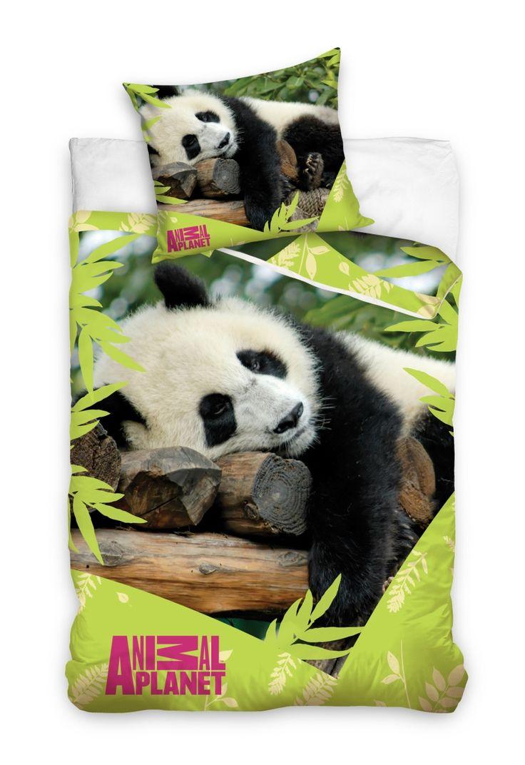 Zielona pościel bawełniana z leżącą pandą