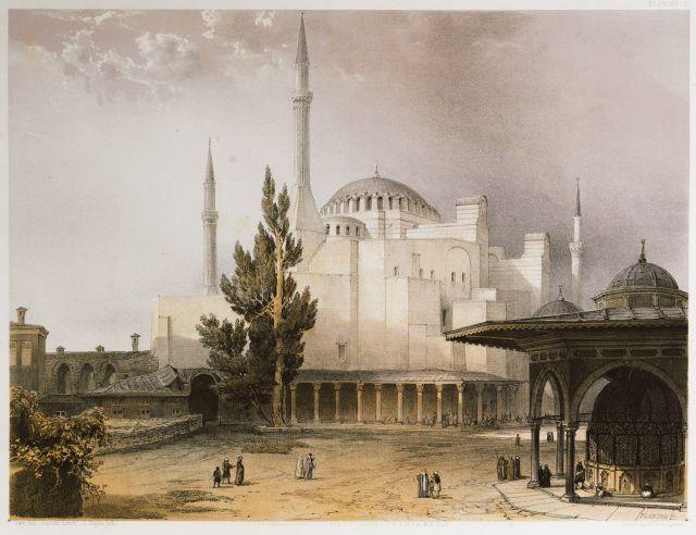 Άποψη της Αγίας Σοφίας στην Κωνσταντινούπολη από τα βορειοδυτικά. Στα δεξιά διακρίνεται η κρήνη του Σουλτάνου Μαχμούντ Α΄. - FOSSATI, Gaspard - ME TO BΛΕΜΜΑ ΤΩΝ ΠΕΡΙΗΓΗΤΩΝ - Τόποι - Μνημεία - Άνθρωποι - Νοτιοανατολική Ευρώπη - Ανατολική Μεσόγειος - Ελλάδα - Μικρά Ασία - Νότιος Ιταλία, 15ος - 20ός αιώνας