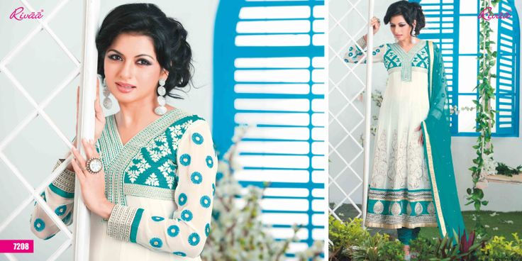 A beautiful turquoise blue and white anarkali by Rivaa To know more details, follow the link http://www.rivaa.in/p/Salwar-Suits-Party-Wear-Suits-Anarkali-Salwar-Suits_1570