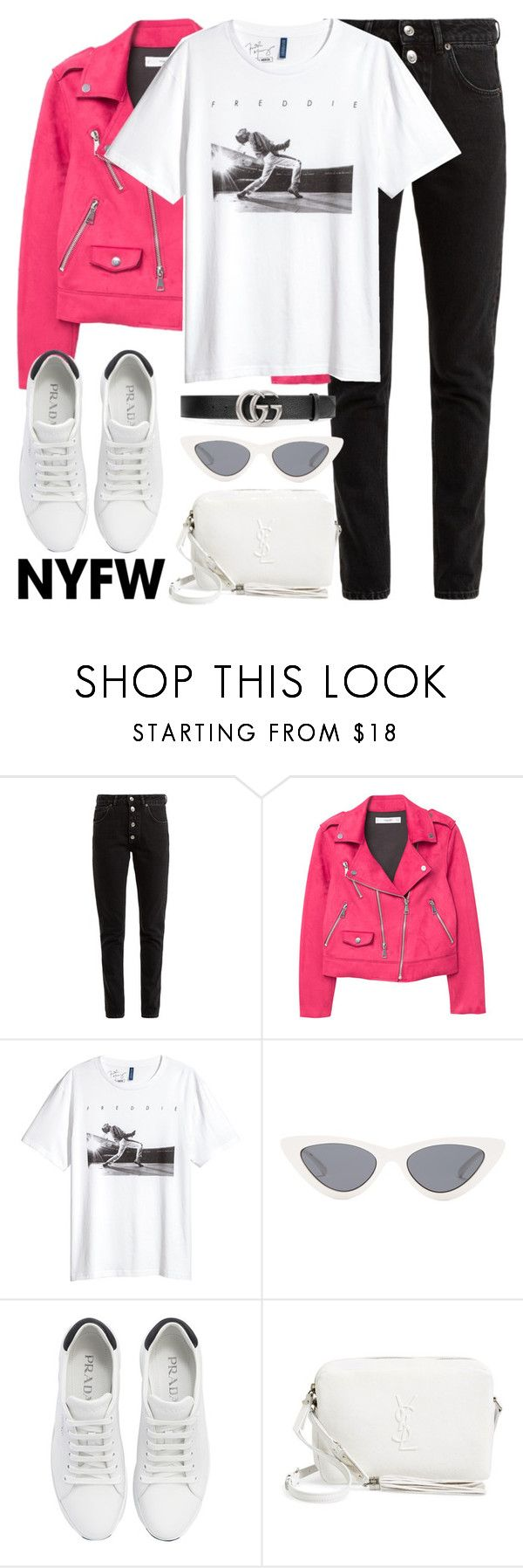 """""""Untitled #3322"""" by elenaday on Polyvore featuring Balenciaga, MANGO, H&M, Le Specs, Prada, Yves Saint Laurent, Gucci, contestentry and NYFWHotPink"""