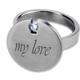 Ring with Circonia and individual engraving