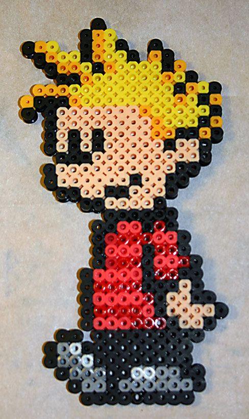 Calvin and Hobbes: Calvin perler beads by cg-shell on deviantart