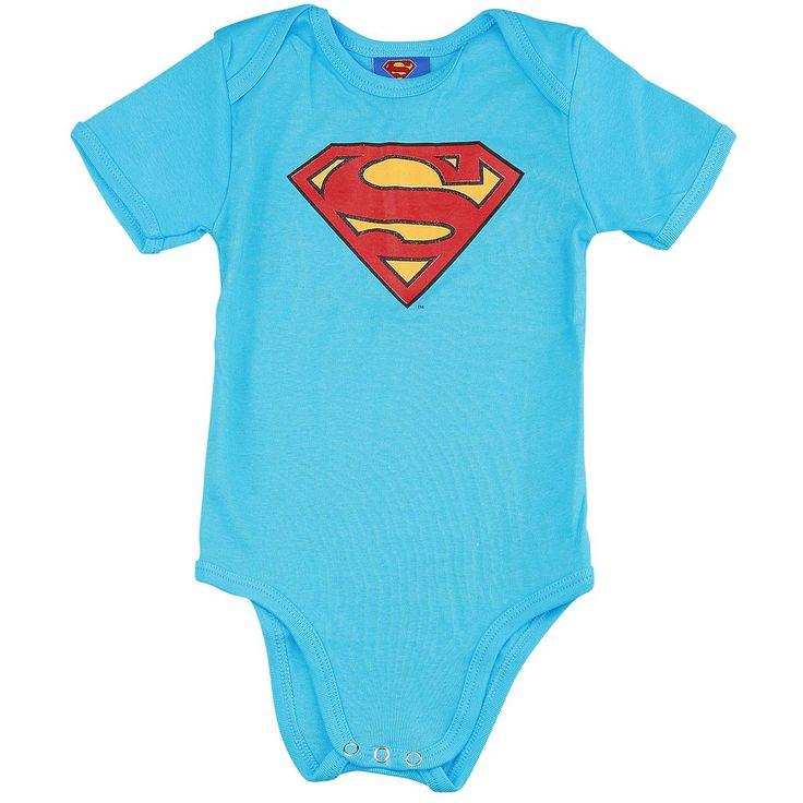 """Body bimbo/a a maniche corte celeste """"Logo"""" dedicato a #Superman con logo del supereroe stampato sul davanti."""