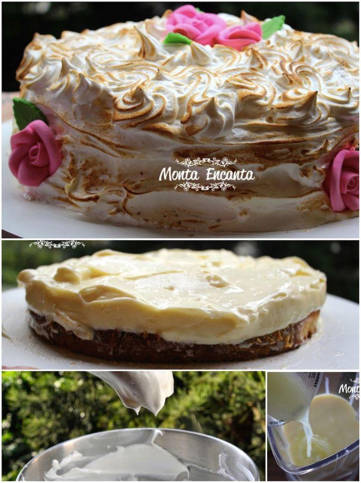 Bolo Torta de Limão, para servir bem geladinho. Discos macios de pão de ló fofíssimos, umedecidos por leite e intercalados de creme de limão, o mesmo usado na torta de limão e coberto com marshmallow maçaricado em formato de rosas ... hummm                                                                                                                                                     Mais