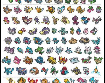 I want to be the very best, Like no one ever was.  To catch them is my real test, To train them is my cause.    Gotta catch em all    Its you and me  I know its my destiny    Pokemon! I dont know about you, but I never managed to find all 150 (or 151) Pokemon. Now you dont have to - stitch them all instead!    The perfect present for any geeky gamer. Stitch the whole pattern, or stitch the individual pokemon for cards, key rings, clothing, magnets - anything you like!    Fabric size: 25 x 36…
