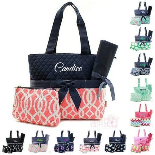 The Personalized 3pc Quilted Diaper Bag set is one of our most popular items. These sets include a Diaper Bag, Zipper Pouch for supplies, and a changing pad. Available in a large variety of patterns, some designed to match mom's style while others feature patterns for baby boys or girls. This item includes personalization: an Embroidered Name or Monogram in one of 20 colors and over 50 fonts.  3 pc set include: Diaper Bag Zipper Pouch Changing pad