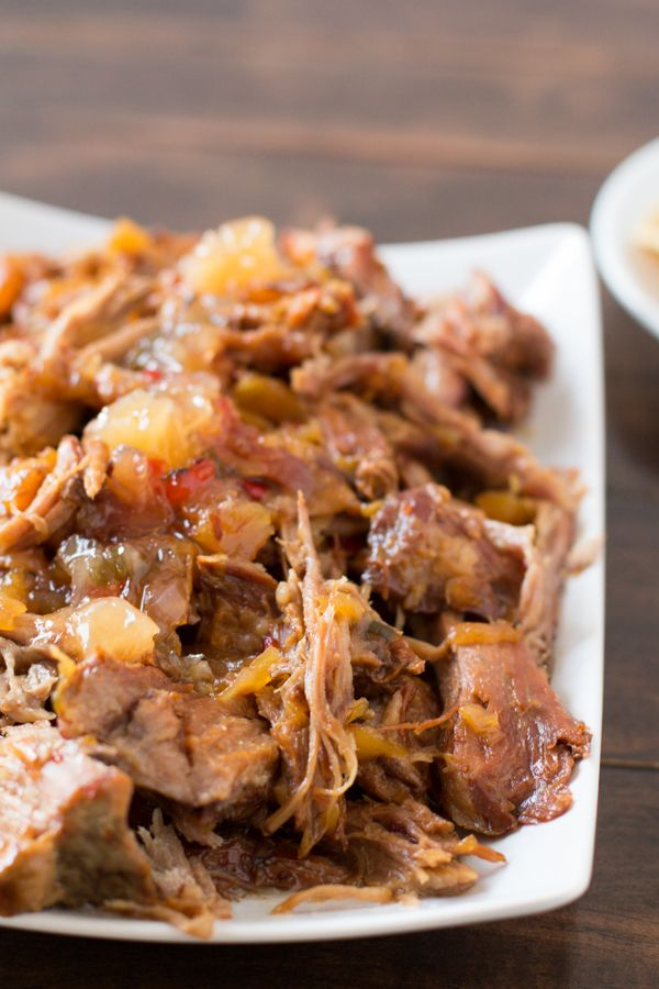 Pineapple Habanero Pork in the slow cooker with 3 ingredients! ohsweetbasil.com