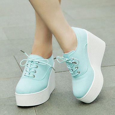 Zapatos de mujer Tela Tacón Cuña Plataforma/Creepers/Punta Redonda Sneakers a la Moda Exterior/Casual Azul/Blanco - EUR € 19.99