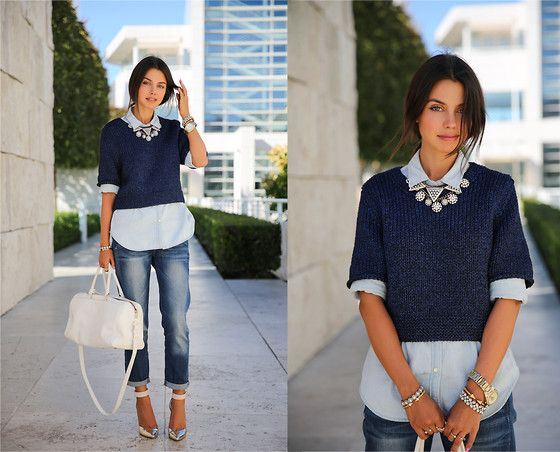 jeans + cropped sweater over long button down + bauble necklace + comfy heels and cute bag = the perf everyday look ;)