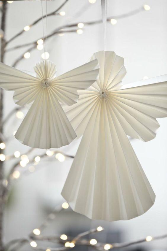 herrlich Weihnachtsdeko Selber Machen Aus Papier Part - 3: bastelideen mit papier duenn engel falten weiss romantisch deko | XMAS |  Pinterest | Weihnachten, Basteln weihnachten and Weihnachtsdeko selber  basteln