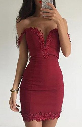 Sexy Off The Shoulder Short Sleeve Bodycon Laciness Dress For Women
