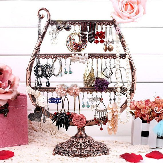 Specialty Form (4) Vintage Winegrass Shape Jewelry Holder For 27 Pairs Earrings,54 Necklaces,Earrings Organizer,Jewelry Stand- Organize Earrings,Multi-Tiers