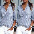 Europäischen Stil 2017 Neue Ankunft Frauen Mode Gestreiften Plus Größe Hemd, weibliche Marke Casual Langen Ärmeln Chiffonbluse 6XL
