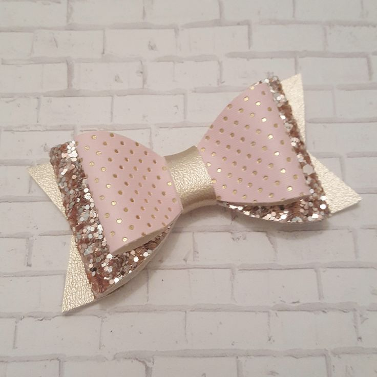 Pink and Gold Bow, Valentine's Day Bow, Faux Leather Bow, Baby Bow, Toddler Hair Clip, Girls Headband, Hair Bow by BabyBearHandmadeB on Etsy https://www.etsy.com/ca/listing/572272598/pink-and-gold-bow-valentines-day-bow