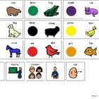 """This PDF is page 3 (icons) of a visual for Eric Carle's """"Brown Bear, Brown Bear, What Do You See"""" story. It can be used as a language aide for verb..."""