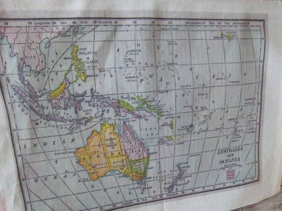 15 best mapamundi images on pinterest antique maps diy and antiques vintage map fabric panel handmade 1907 australia by iwathd09 700 sciox Choice Image