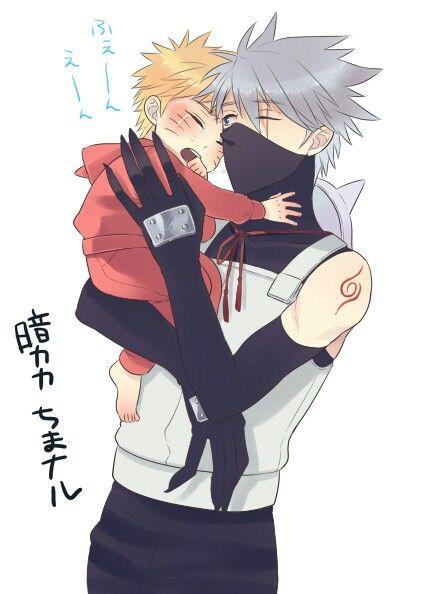 Young Kakashi and baby Naruto