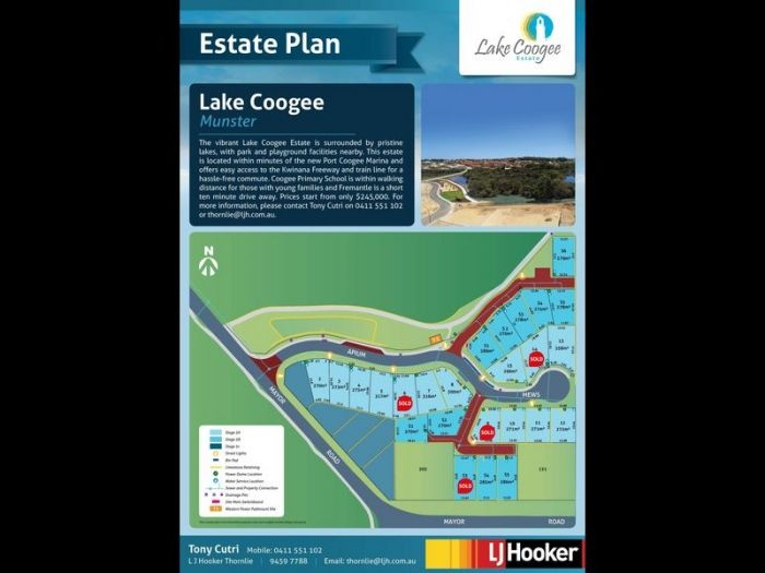 """The vibrant Lake Coogee Estate is surrounded by parklands and lakes and is only minutes from the Port Coogee Marina, Fremantle, Kwinana Freeway and train station. This Estate is also walking distance to the local primary school.     Lake Coogee Estate also has a """"Class A"""" site classification, saving you money on your site works costs.  Please Contact Tony on 0411 55 11 02 or thornlie@ljh.com.au    Block prices start from only $245,000"""
