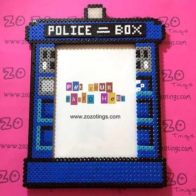 Tardis - Doctor Who photo frame hama beads by zozotings