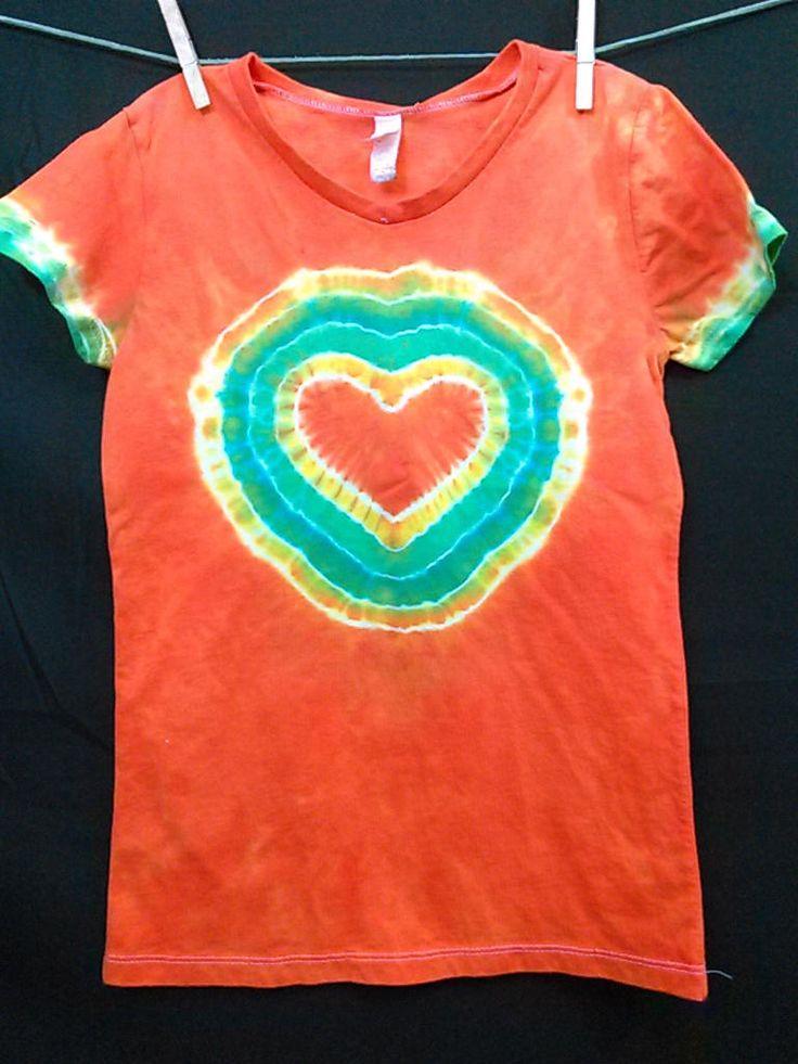 Girls Heart Tee Shirt, Girls Large, Tie Dye Shirt, Orange Tie Dye, Tie Dye Heart, Easter Basket Stuffer, Girls Fashion, Retro, Ready To Ship by LadybugTieDye on Etsy