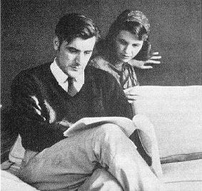 Edward James Hughes with Sylvia Plath reading over his shoulder.