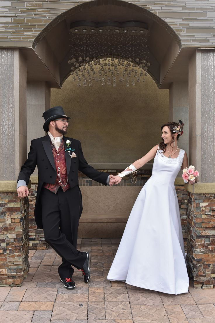 Steampunk Rock Wedding At Chapel Of The Flowers In Las Vegas Unique Attire For