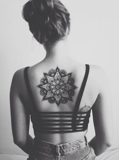 back, beauty, black and white, girl, mandala, tattoo, tumblr