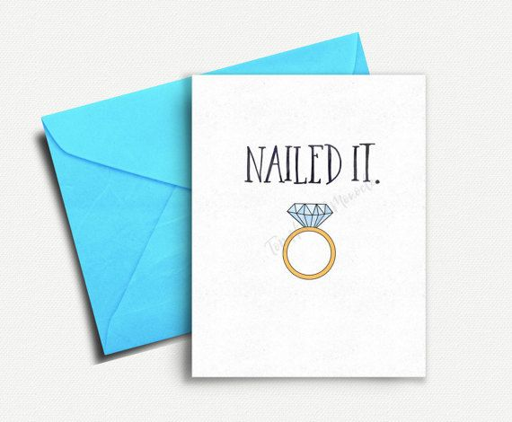Funny Engagement Card Bridal Shower Card by TopHatAndMonocle #funny #wedding #engagement #card #gift #ideas