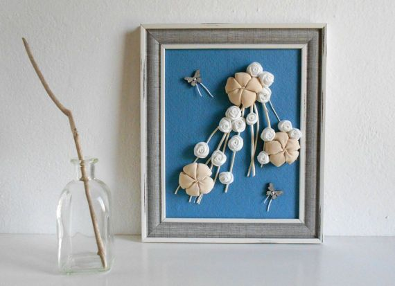 Home decor 3d framed decoration with fabric flowers and by mapano