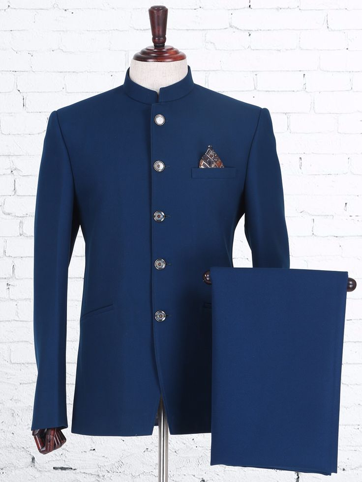 Solid Blue Knitted Jodhpuri Suit