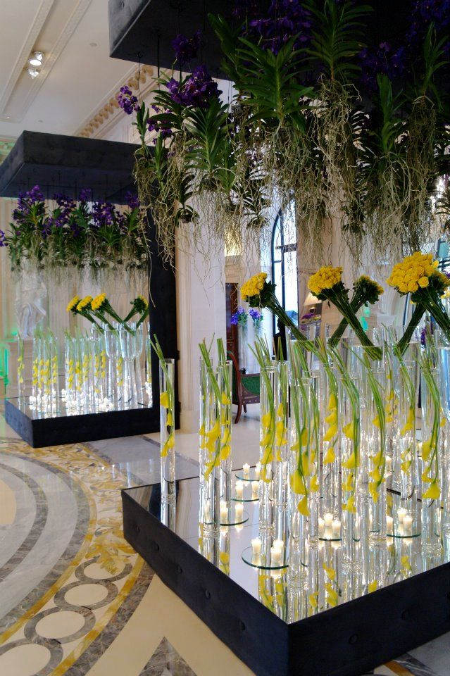 Floor to Ceiling Hanging Orchids + Submerged Blooms - Jeff Leatham