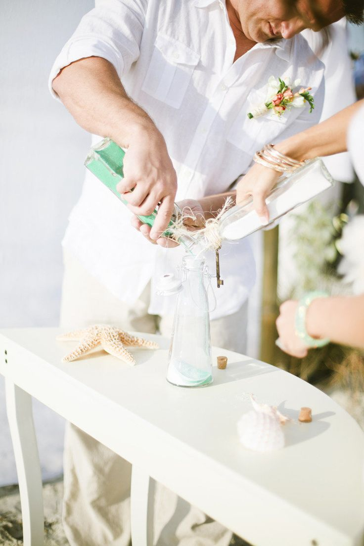 Instead of a candle lighting ceremony opt for a sand ceremony, which will also create a keepsake for the new home.