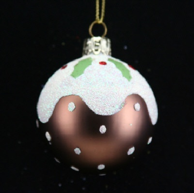 NEW GISELA GRAHAM CHRISTMAS PUDDING BAUBLE CHRISTMAS TREE DECORATION - 6 CM