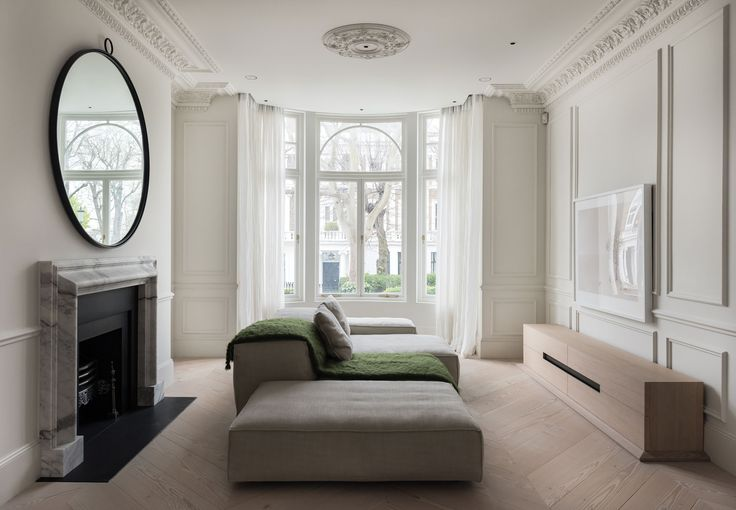 Wide plank flooring laid in chevron pattern - GrandPattern Douglas by Dinesen