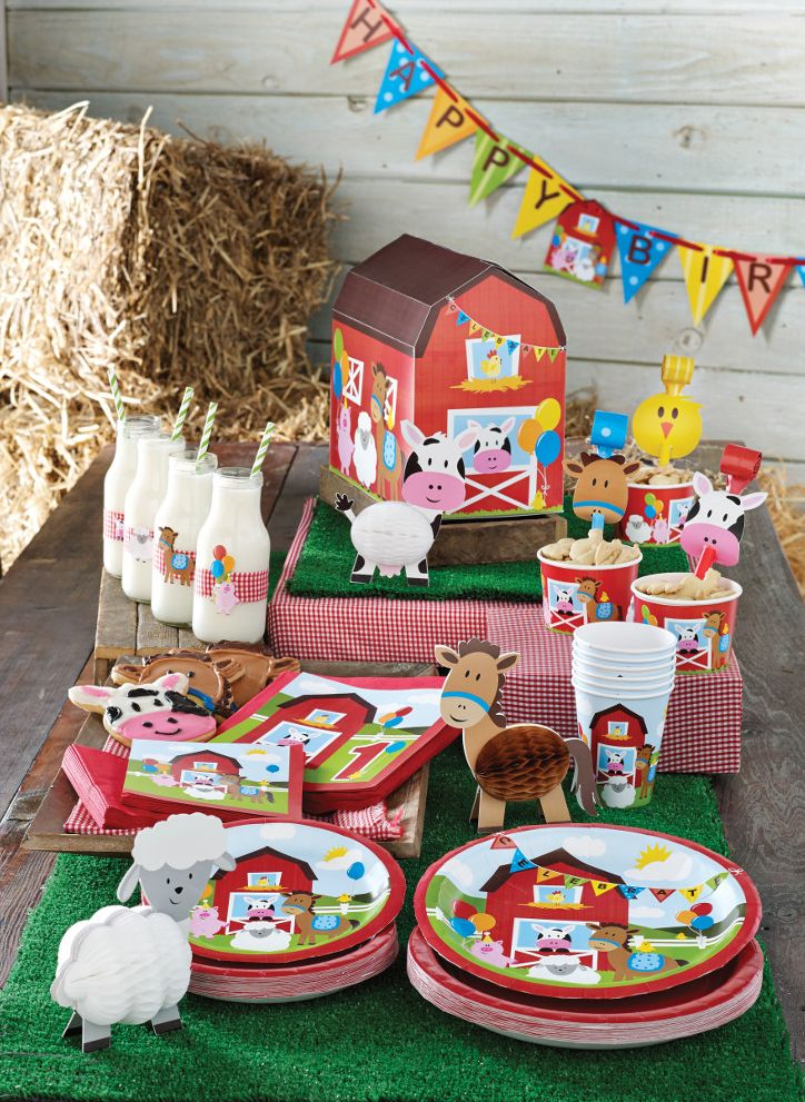 My Paper Shop.com - Happy barnyard animals fill this colorful kid's farm theme birthday party collection! Cows, horses, and baby chicks are printed on bulk party plates, paper napkins, beverage cups, table covers and placemats. Coordinating decorations and accessories include: metallic balloons, favor bags, centerpieces, banners, hanging cutouts and much more. Pair this fun children's birthday design with our Red Gingham party supplies for a memorable barnyard theme celebration! © All Rights…