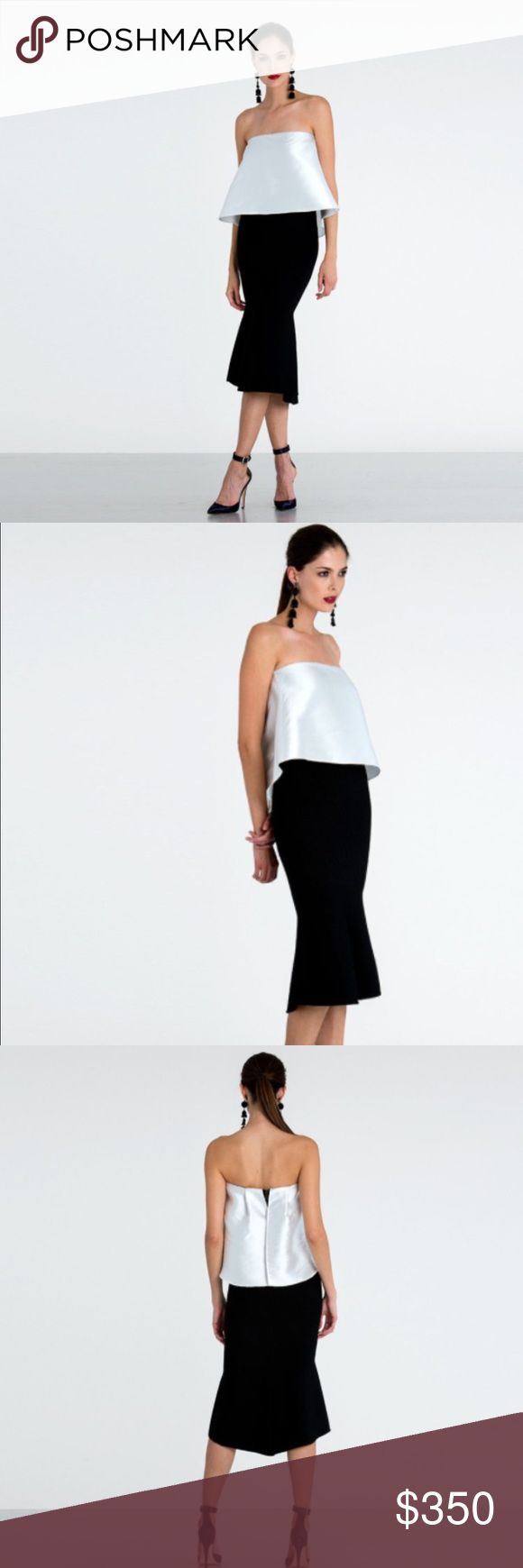NWT Sachin & Babi Olivia Dress M (fits S) NWT Olivia Dress Regular price$375 Sold Out!!! Baring the shoulders and fitting on the silhouette, the Olivia dress is polished and refined, just like you. Ideal for celebrations or special occasions. Designer's Notes Fitted knit dress with ivory mikado peplum and subtle fishtail shape at skirt Fabric Imago & Knit Garment care Dry Clean Only Note: I normally wear a 4 bra size 32DD. This dress fits like a glove through the bodice, but is a little big…
