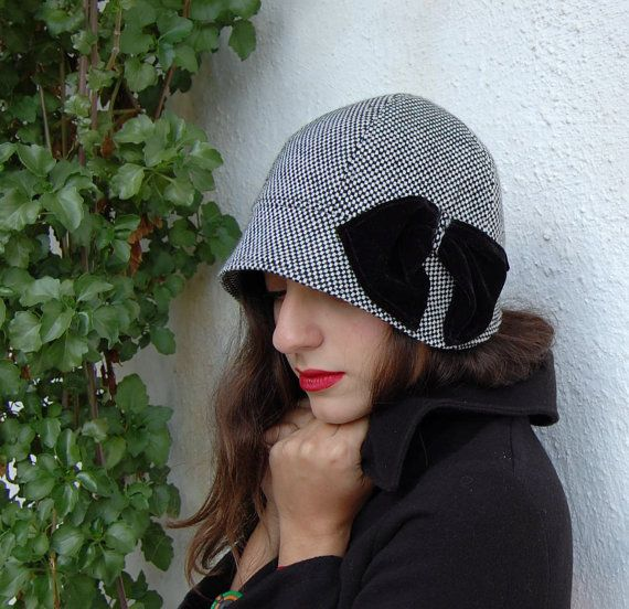 Cloche hat black and white tweed with small brim by WhereIsTheCat