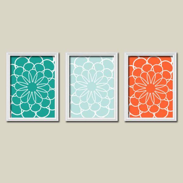 Flowers Flourish Floral Teal Aqua Orange Sea Tones Pattern Artwork Set of 3 Trio Prints Bedroom Bathroom Wall Decor Abstract Art Picture. $30.00, via Etsy.