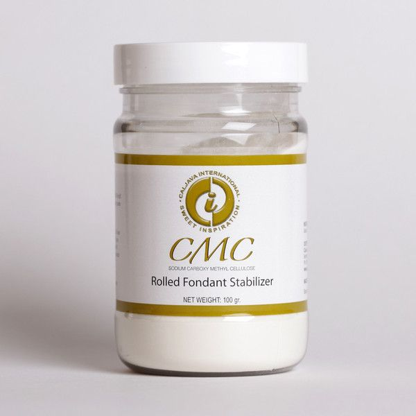 CMC: Fondant Stabilizer.  (Tylose) CMC is the most widely used additive for rolled fondant.  Used to give Fondant gumpaste like qualities to be made into bows, flowers, figures, or decorative accents in order for the fondant to dry properly into the designer's intended shapes. Cake decorator's best friend. |  www.CaljavaOnline.com #caljava #caketool