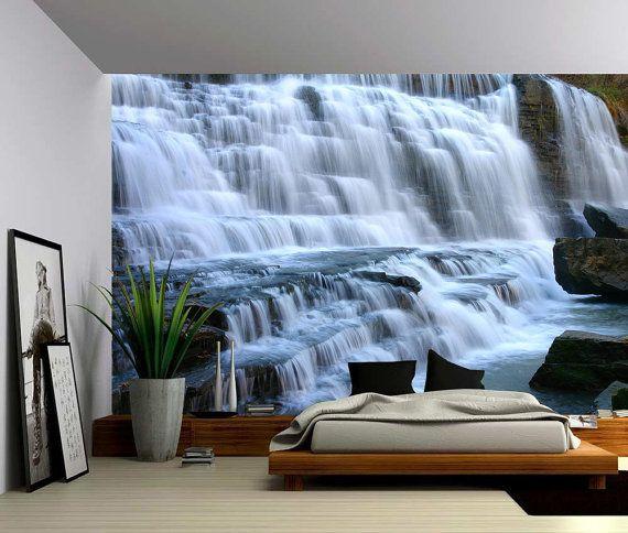 Mountain Cliff Waterfall - Large Wall Mural, Self-adhesive Vinyl Wallpaper, Peel…
