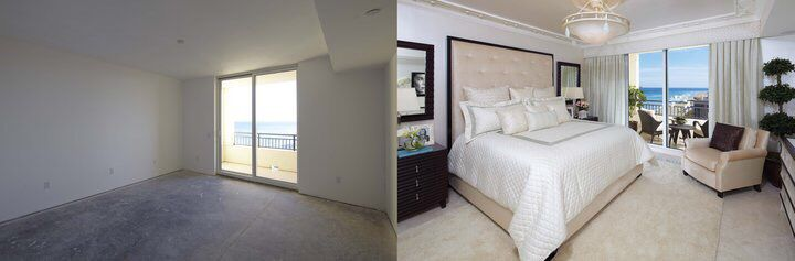 Before and After Master Suite of Beachfront High-Rise Condominium