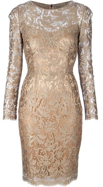 Gorgeous. >>> Dolce & Gabbana Lace Dress in Gold - Lyst
