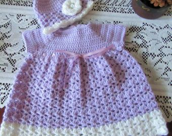 Baby Girl Crochet Dress Hat and Booties 4 Piece от TheComfyBaby