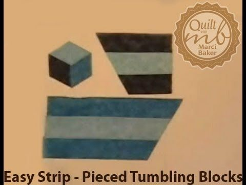 Easy Strip-Pieced Tumbling Blocks, Marci Baker of Alicia's Attic. Video of how to strip piece Tumbling Blocks.