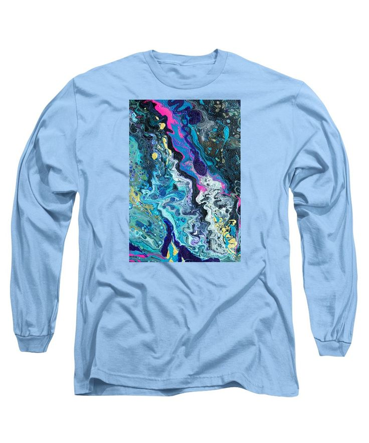 Dirty Poured Acrylics Detail Dominant Shades Of Blue Purple Turquoise And Hot Pink Long Sleeve T-Shirt featuring the painting Pour #1 Detail by Expressionistart studio Priscilla Batzell